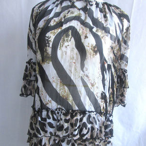 Alberto Makali Blouse Animal Print Tiered Ruffled